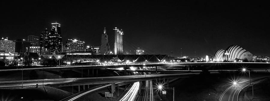 Kansas City Skyline at Night in Black and White by Alan Hutchins