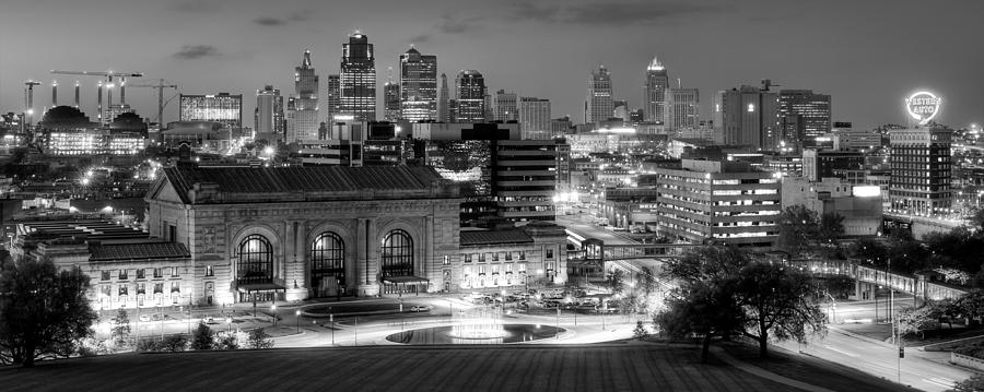 Kansas city skyline photograph kansas city skyline bw by ryan heffron