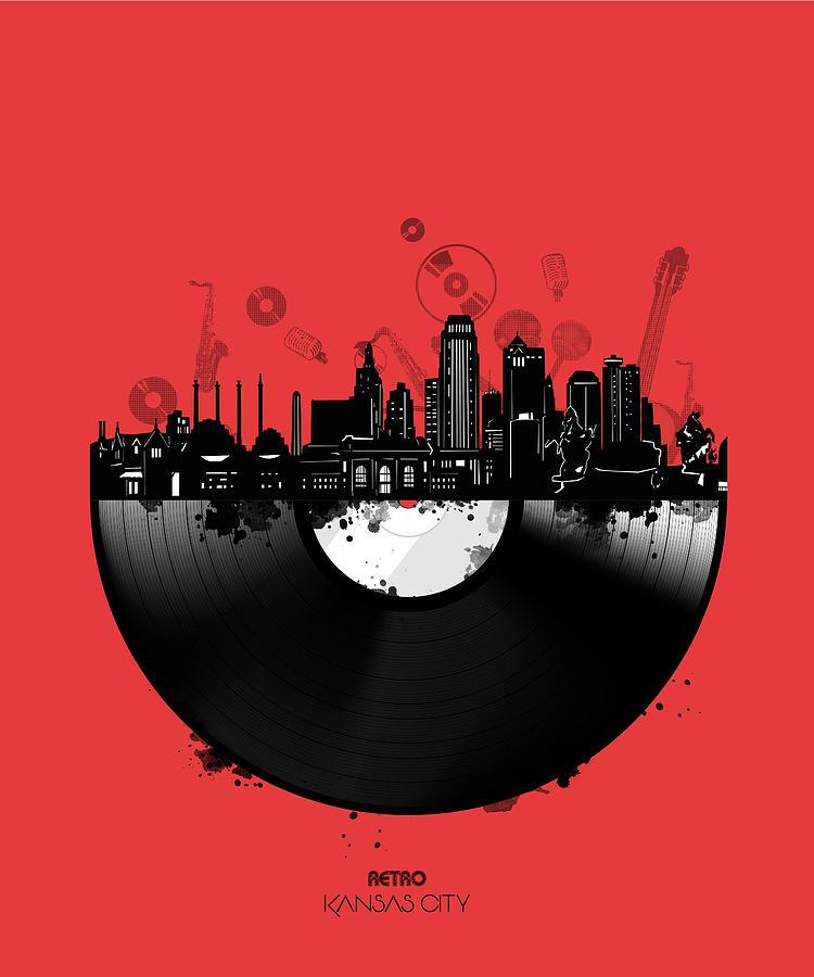 Kansas City Skyline Vinyl 4 Digital Art