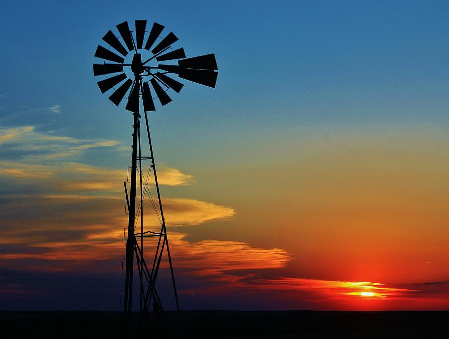 Kansas Country Sunset And Windmill Photograph by Greg Rud