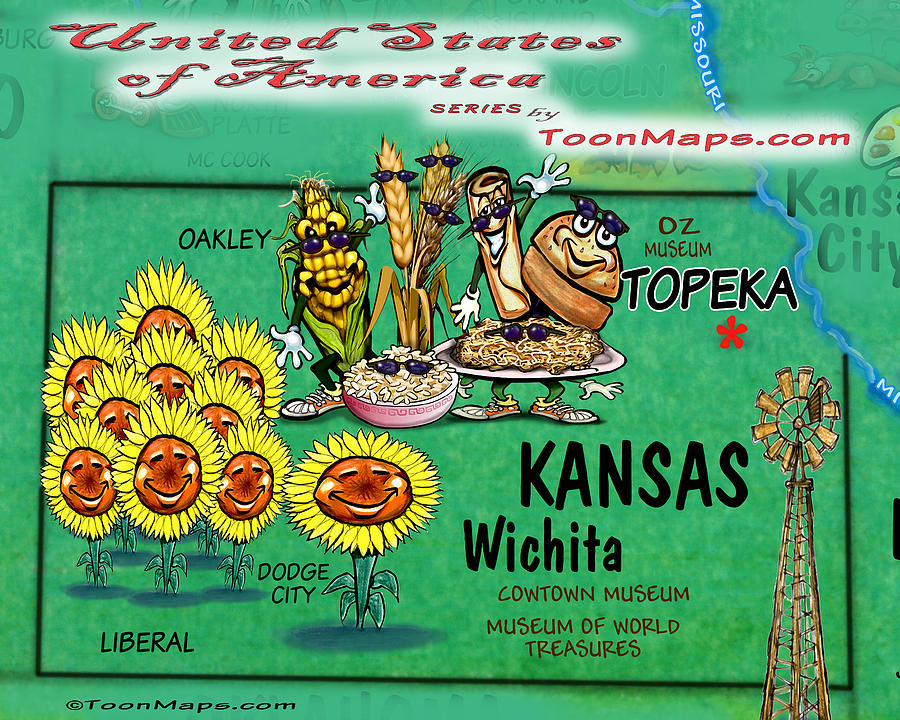 Kansas Fun Map Digital Art