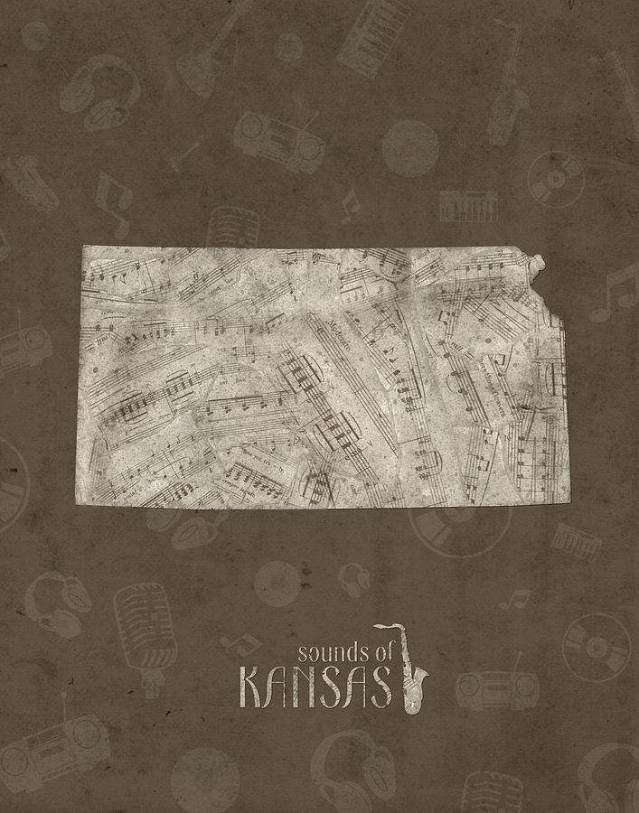 Kansas Map Music Notes 3 Digital Art
