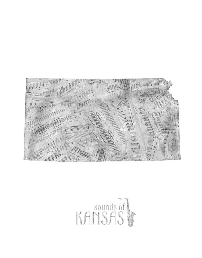 Kansas Map Music Notes Digital Art