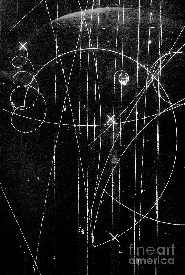 Anti-electron Photograph - Kaon Proton Collision by SPL and Photo Researchers