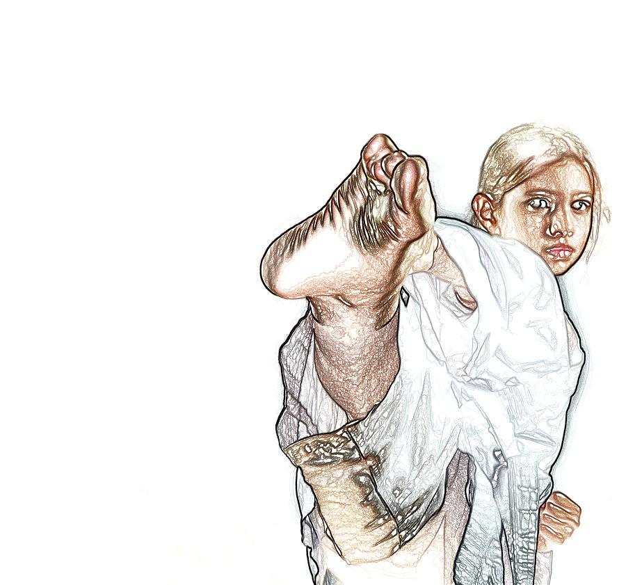 Karate Girl Attact Pose Painting By Sezer Akdeniz
