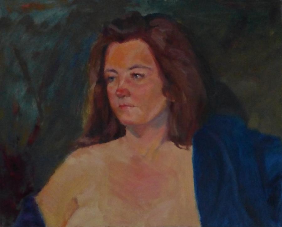 Girl Painting - Karen in Blue Robe by Irena Jablonski