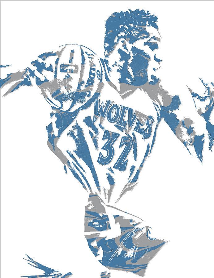 Karl Anthony Towns Minnesota Timberwolves Pixel Art 8 Mixed Media By Joe Hamilton