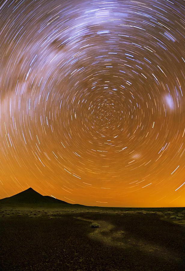 Desert Photograph - Karoo Desert Star Trail 01 by Basie Van Zyl