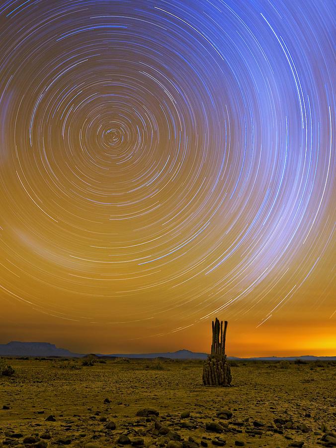Desert Photograph - Karoo Desert Star Trails by Basie Van Zyl
