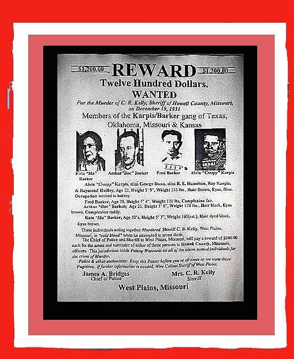 Karpis Barker Gang Wanted Poster 1931 Color And Frame Added 2016 ...