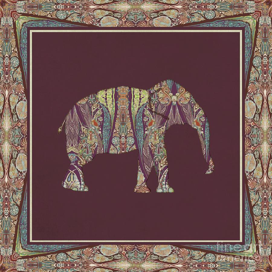 kashmir patterned elephant 2 boho tribal home decor painting by purple painting kashmir patterned elephant 2 boho tribal home decor by audrey jeanne roberts