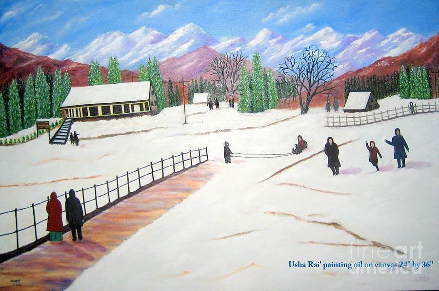 Landscape Painting - Kashmir by Usha Rai