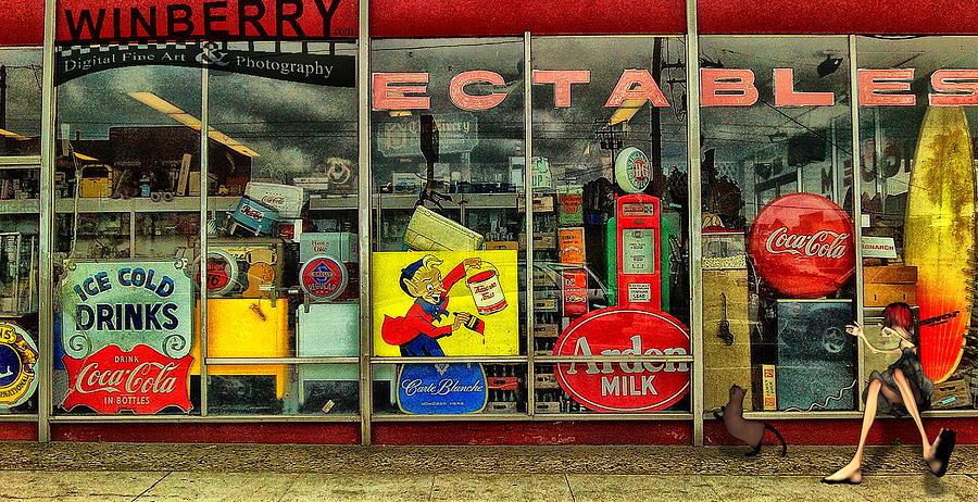 Long Beach Digital Art - Kat At Window by Bob Winberry