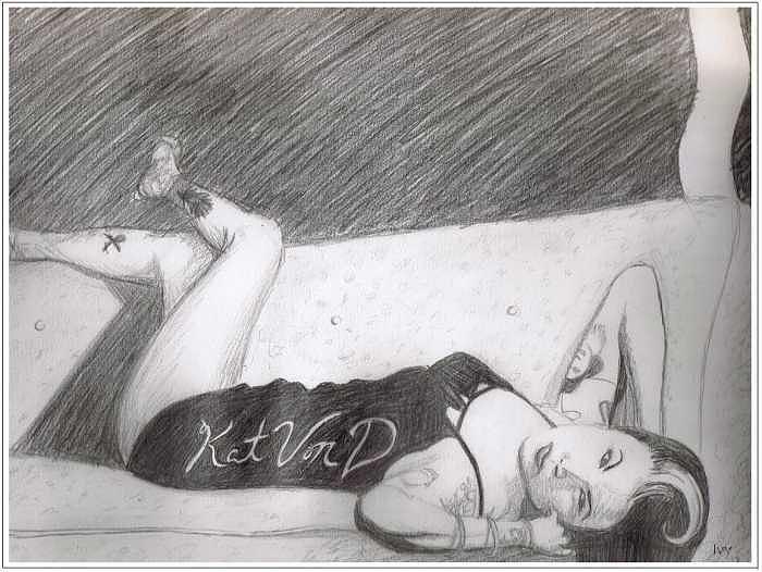 Kat Von D Drawing - Kat Von D Pinup by Cecelia Price