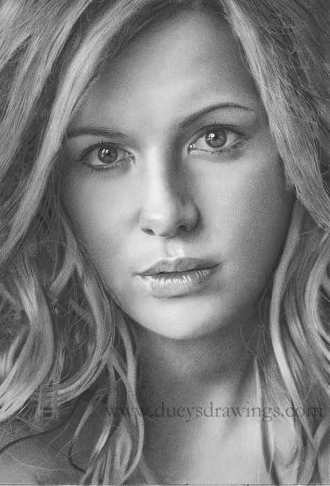 Kate Beckinsale Pencil Drawing Drawing by Brian Duey