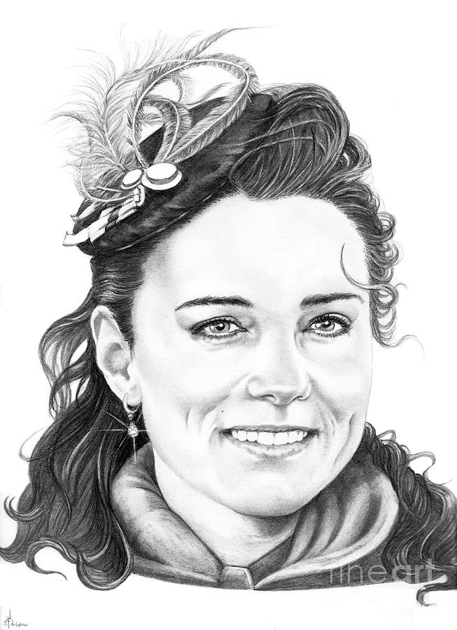 Drawing Drawing - Kate Middleton by Murphy Elliott