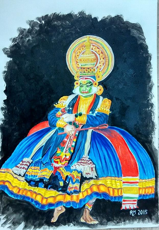 Kathakali Dancer Painting By Ramesh Mahalingam