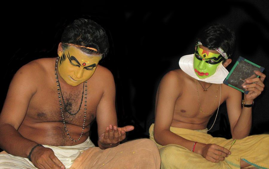 Kathakali Photograph - Kathakali Dancers Getting Ready by Art Spectrum