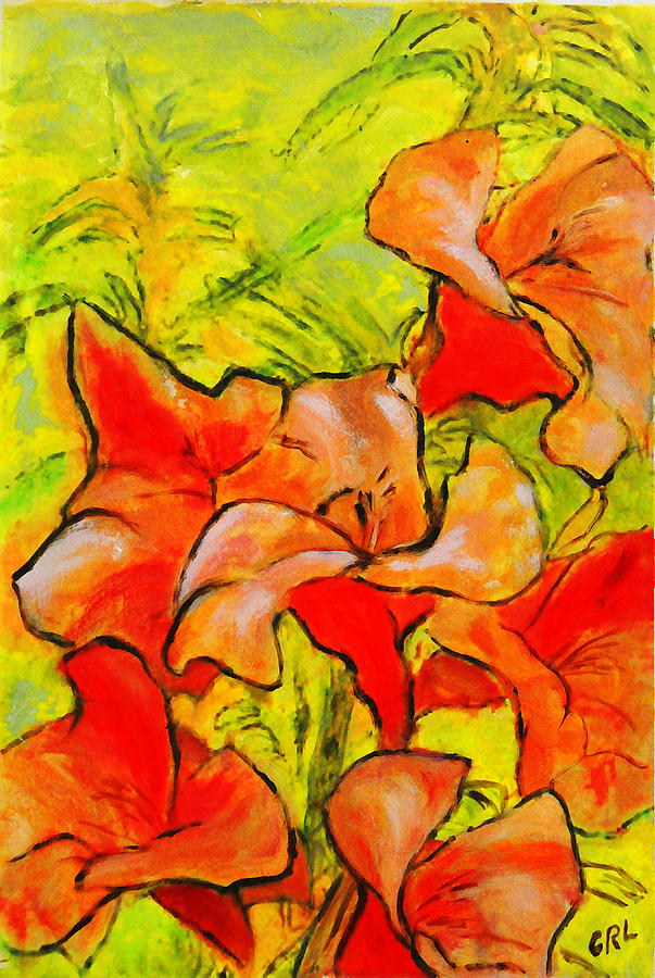 Daylilies Painting - Kathies Daylilies Fine Art Painting North Carolina by G Linsenmayer