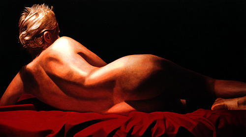 Female Painting - Katia Reclined I by Toby Boothman
