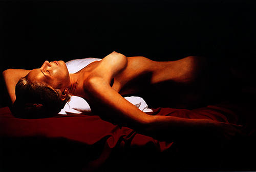 Female Painting - Katia Reclined II by Toby Boothman