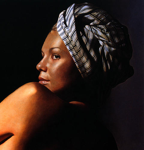 Female Painting - Katia With Turban by Toby Boothman