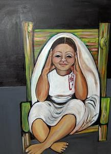 Rosary Painting - Katie In A Yellow Chair by Ruth Olivar Millan
