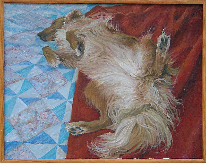 Dog Portrait Painting - Katie On The Bed by James Sparks