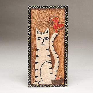 Cat Sculpture - Katricia And The Cardinal by James Neill