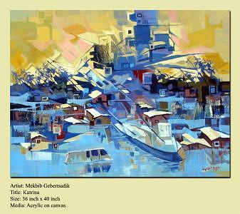 Storm Painting - Katrina by Mekbib Geberstadik