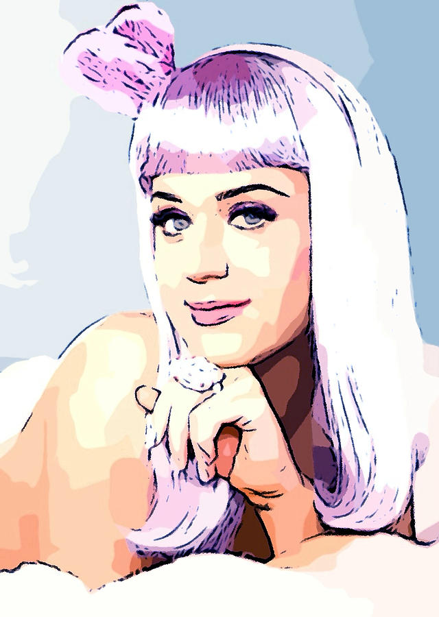 Katy Perry - Cotton Candy Colored Mixed Media by Lauranns Etab