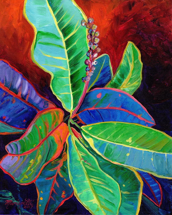 Kauai Croton Leaves 2 by Marionette Taboniar