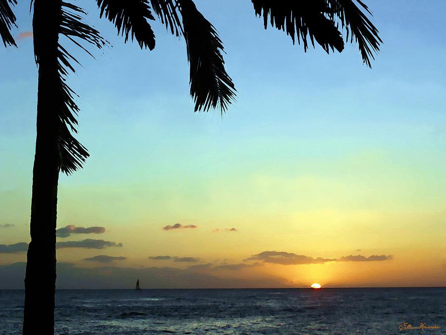 Sunset Painting - Kauai Sunset by Ellen Henneke
