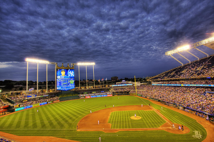 Kauffman Stadium Photograph - Kauffman Stadium Twilight by Shawn Everhart