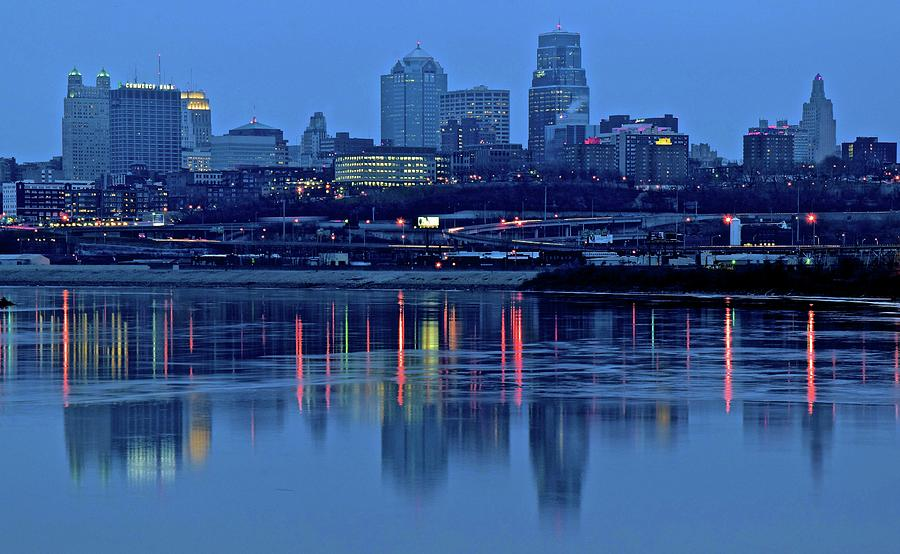 Kaw Point Blue Hour Reflection Photograph