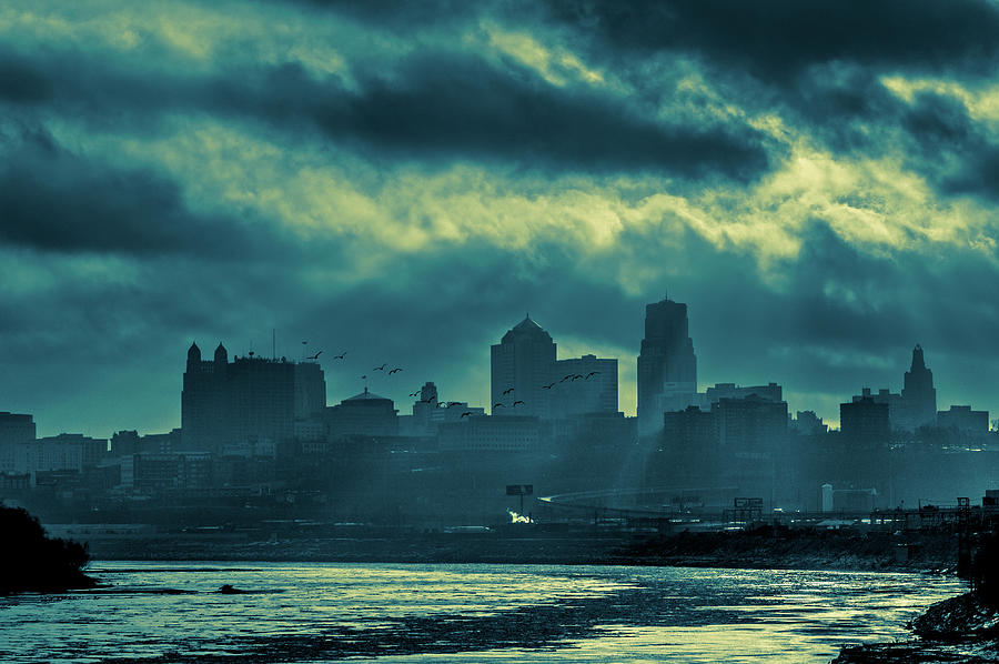 Kaw Point Photograph - Kaw Point Kansas City Skyline by Jeff Phillippi