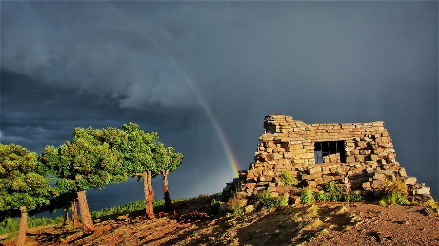 Nature Photograph - Kawanis Cabin Rainbow, Sandia Crest, New Mexico by Zayne Diamond Photographic