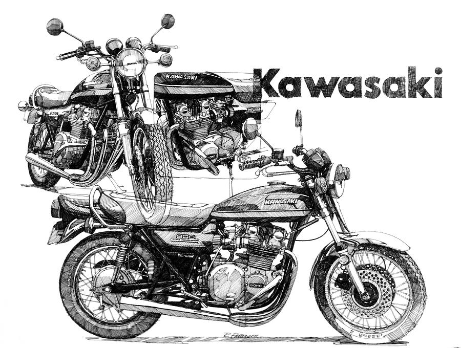 Transportation Painting - Kawasaki 900 by Ron Patterson