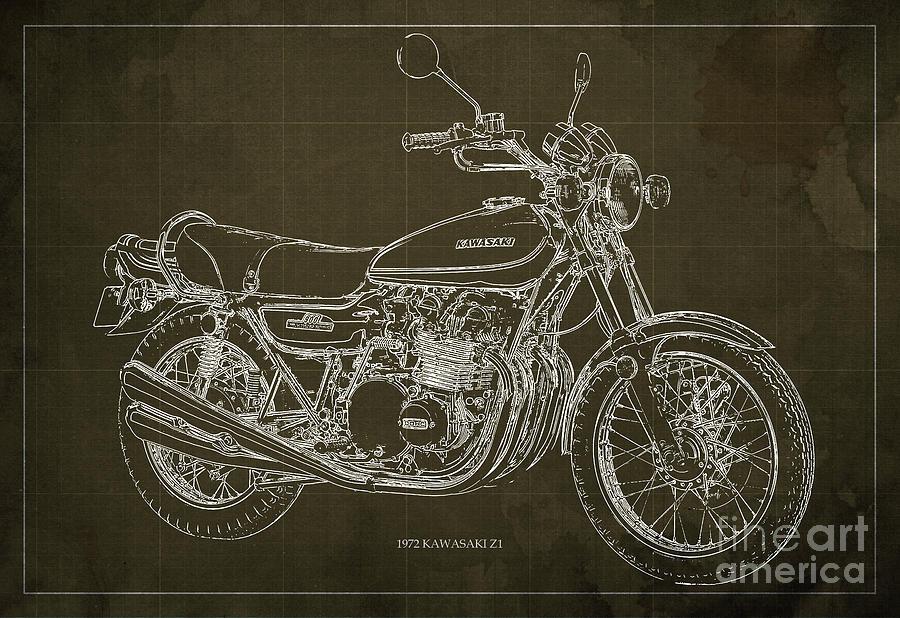 Kawasaki Digital Art - Kawasaki Motorcycle Blueprint, Mid Century Brown Art Print by Drawspots Illustrations