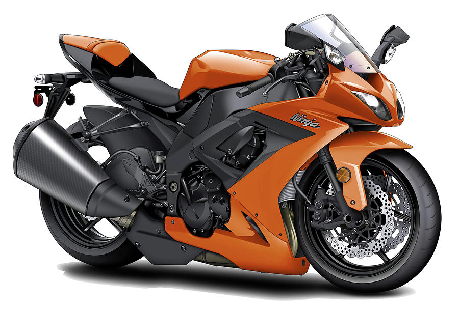 Kawasaki Ninja Orange Motorcycle - 156.3KB