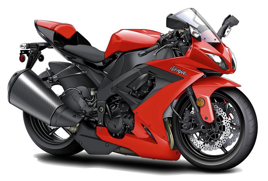 Kawasaki Ninja Red Motorcycle Digital Art By Maddmax