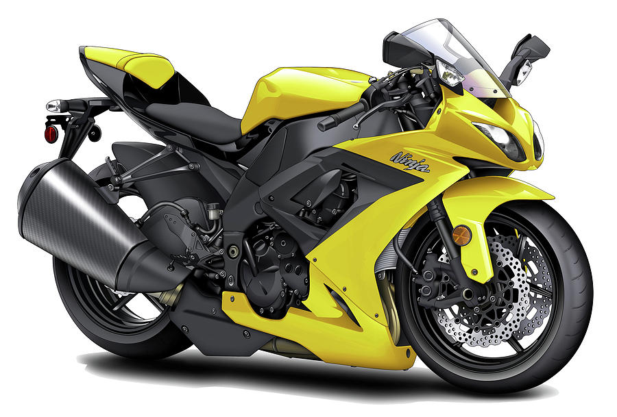 yellow motorcycle pic  Kawasaki Ninja Yellow Motorcycle Digital Art by Maddmax