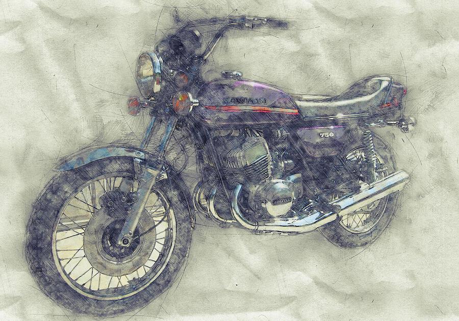 Kawasaki Triple 1 - Kawasaki Motorcycles - 1968 - Motorcycle Poster - Automotive Art Mixed Media