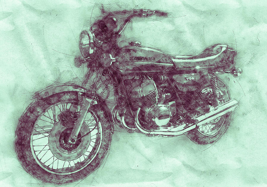 Kawasaki Triple 3 - Kawasaki Motorcycles - 1968 - Motorcycle Poster - Automotive Art Mixed Media