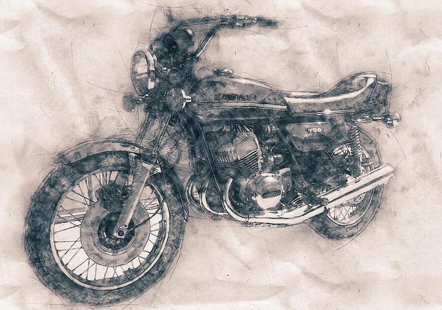 Kawasaki Motorcycles Mixed Media - Kawasaki Triple - Kawasaki Motorcycles - 1968 - Motorcycle Poster - Automotive Art by Studio Grafiikka