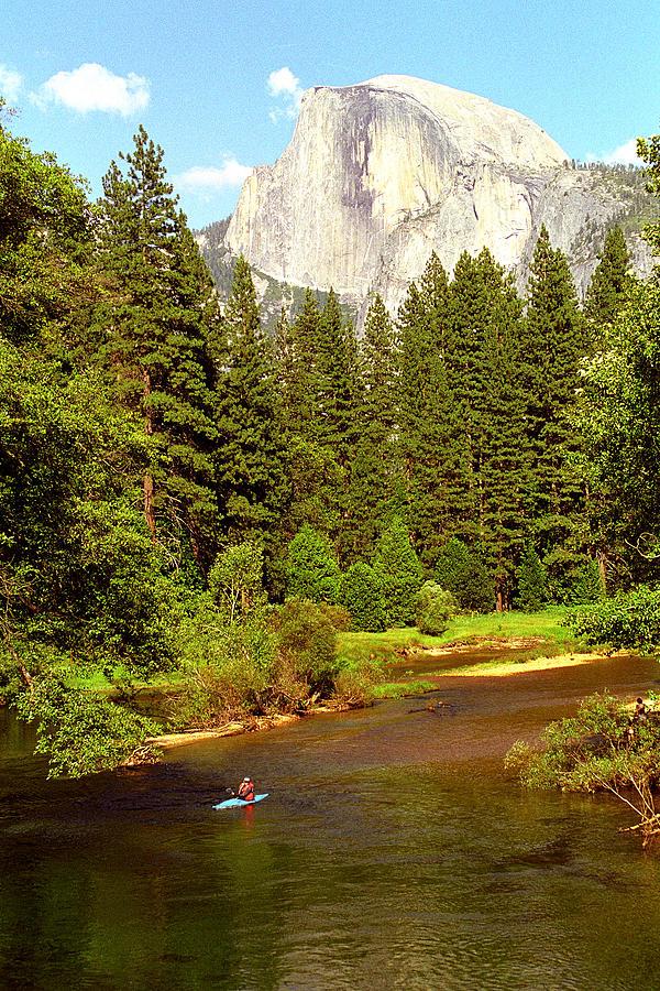 Yosemite National Park Photograph - Kayak Below Half Dome by Alan Lenk