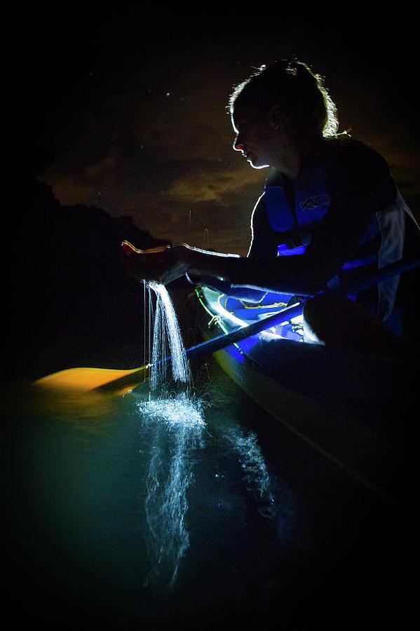 Bioluminescence Photograph - Kayak In The Biobay by Karl Alexander