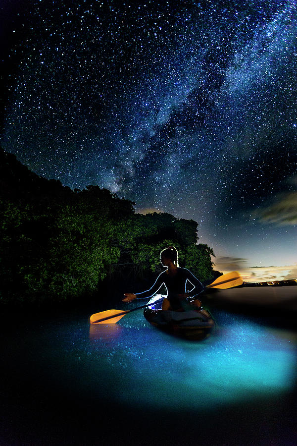 Night Photograph - Kayak In The Biobay Under The Milky Way by Karl Alexander