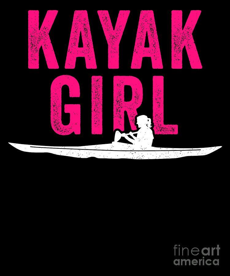 Anglers Digital Art - Kayak Kayak Girl Pink Gift Light by J P