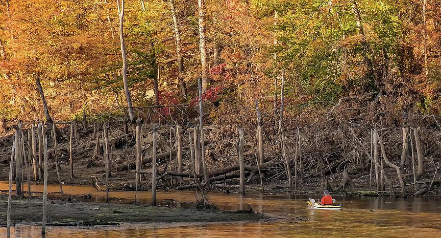 Kayak On Monksville Reservoir In West Milford by John Prause